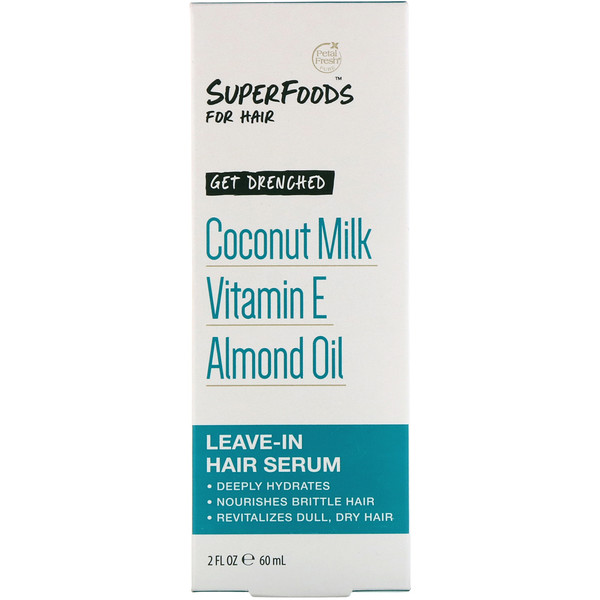 Petal Fresh, Pure, SuperFoods for Hair, Get Drenched Leave-In Hair Serum, Coconut Milk, Vitamin E & Almond Oil, 2 fl oz (60 ml)