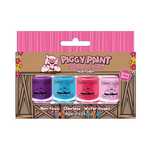 """Piggy Paint, """"Натуральный, как грязь"""", лак для ногтей, набор из 4 флаконов по 3,5 мл (Discontinued Item)"""
