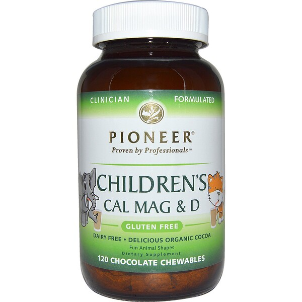 Pioneer Nutritional Formulas, Детская добавка с кальцием, магнием и витамином D, со вкусом шоколада, 120жевательных таблеток