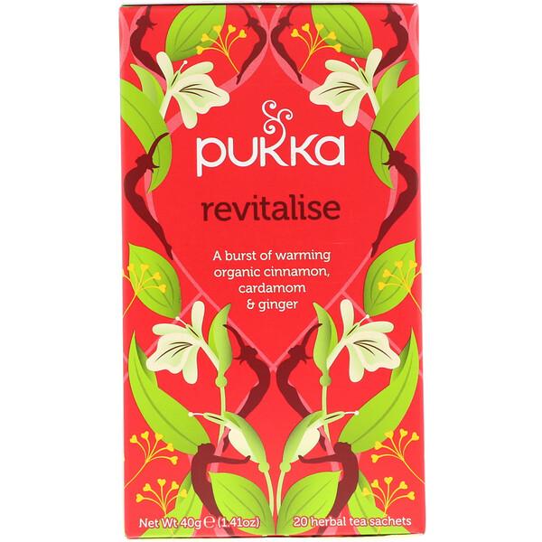 Pukka Herbs, Восстанавливающее средство, чай с натуральной корицей, кардамоном и имбирем, 20 пакетиков, 1.41 унций (40 г)
