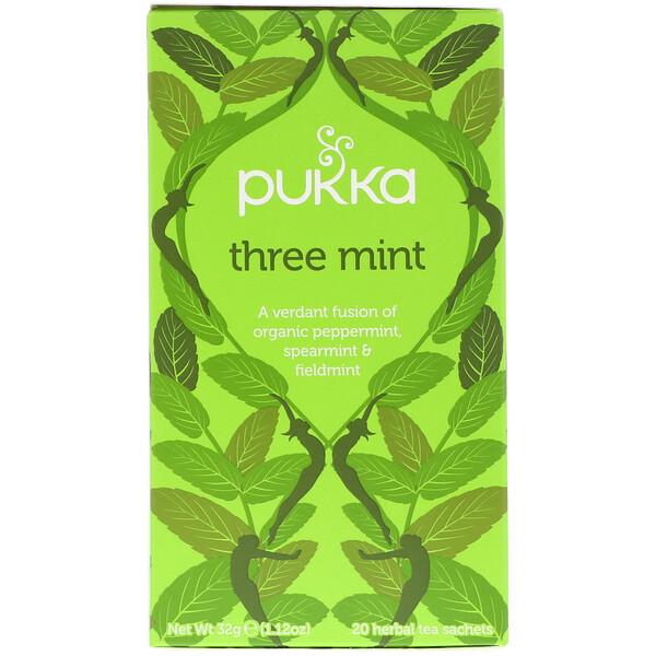 Three Mint, Caffeine Free, 20 Herbal Tea Sachets, 1.12 oz (32 g)