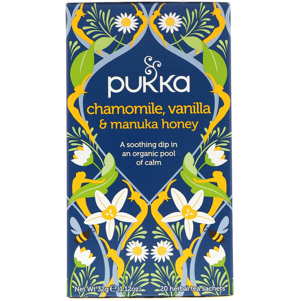 Chamomile, Vanilla & Manuka Honey Tea, 20 Herbal Tea Sachets, 0.05 oz (1.6 g)
