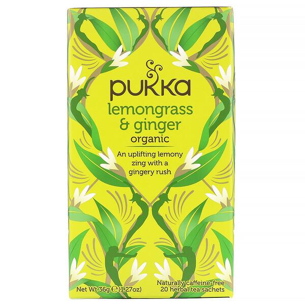 Органическая смесь лемонграсса и имбиря, без кофеина, 20пакетиков с травяным чаем, 36г