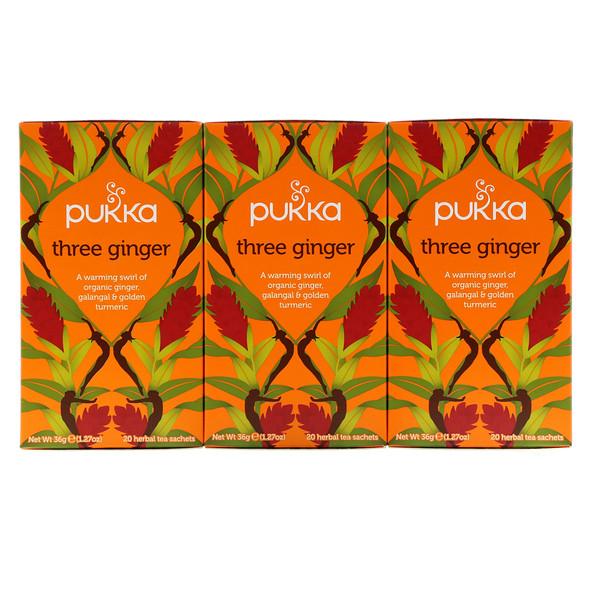 Pukka Herbs, Имбирный травяной чай, без кофеина, 3 пакетика, по 20 пакетиков-саше с травяным чаем каждый (Discontinued Item)