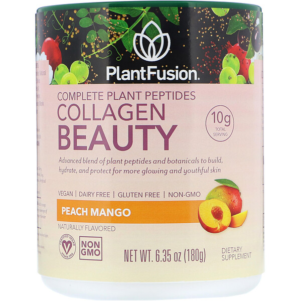 Комплекс с растительными пептидами, Collagen Beauty, персик и манго, 180г