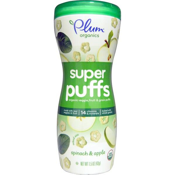 Plum Organics, Super Puffs, органические колечки из овощей, фруктов и злаков, шпинат и яблоко, 42 г (1,5 унции)