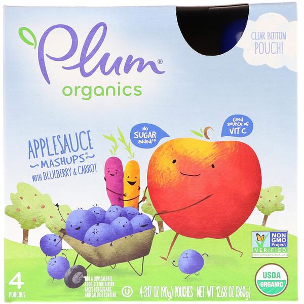 Органический продукт, аппетитная смесьмс черникой и морковью, 4 упаковки, 3,17 унц. (90 г) в каждой
