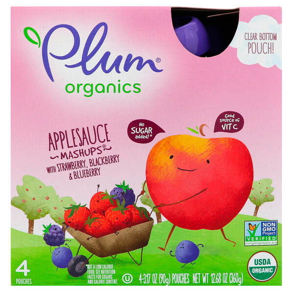 Organic Applesauce Mashups with Strawberry, Blackberry & Blueberry , 4 Pouches, 3.17 oz (90 g) Each