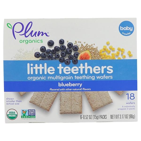 Маленькие прорезыватели, органические мультизлаковые вафли для прорезывания зубов, черника, 6 упаковок, 0,52 унц. (15 г) каждая