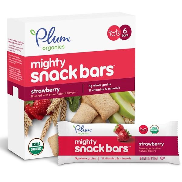 батончики Mighty Snack Bars, клубника, 6 батончиков, 0,67 унций (19 г) каждый