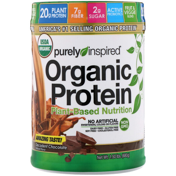 Органический протеин, питание на растительной основе, восхитительный шоколад, 680 г (1,5 фунта)