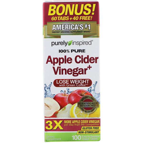 Яблочный уксус+, 100 растительных таблеток, которые легко проглатывать