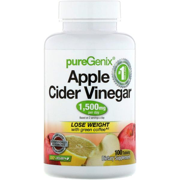 PureGenix, яблочный уксус, 100таблеток