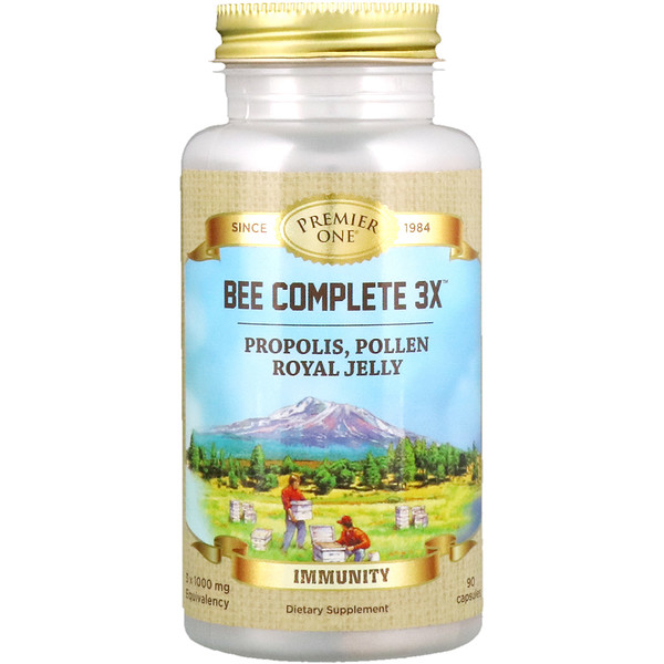 Premier One, Bee Complete 3X, прополис, пыльца, маточное молочко, 90 капсул (Discontinued Item)