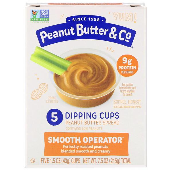 """Peanut Butter & Co., """"Великий комбинатор"""", густая арахисовая паста в удобных стаканчиках для макания, 5 стаканчиков по 1,5 унций (43 г) (Discontinued Item)"""