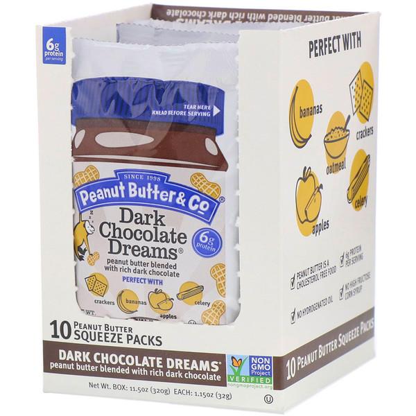 Peanut Butter & Co., Арахисовое масло со вкусом темного шоколада, мягкие пакеты, 10 в коробке, 1,15 унции (32 г) каждый (Discontinued Item)
