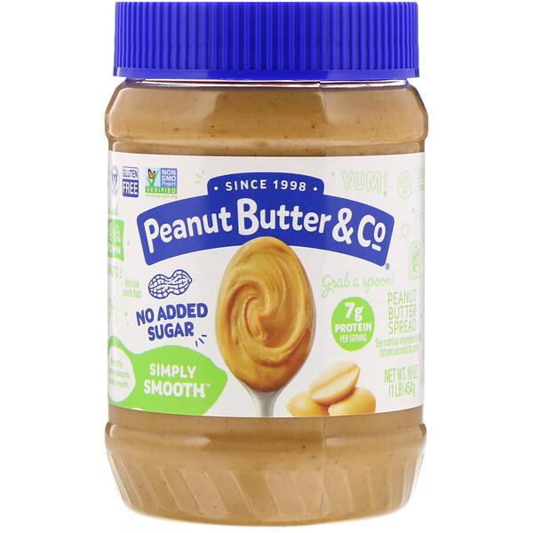 Peanut Butter & Co., Simply Smooth, арахисовая паста, без добавления сахара, 454г (16унций)