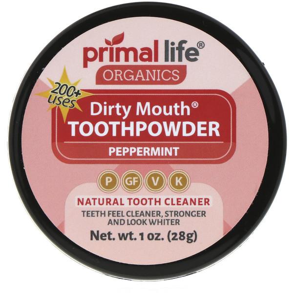 Зубной порошок для грязного рта, перечная мята, 1 унция (28 г)