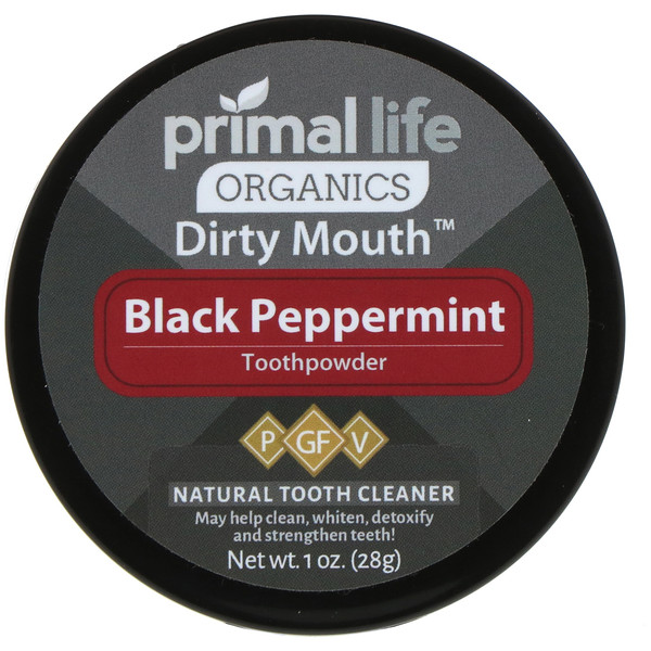 Primal Life Organics, Зубной порошок для грязного рта, черная перечная мята, 1 унция (28 г)