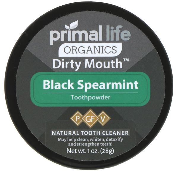 Primal Life Organics, Зубной порошок для грязного рта, черная сладкая мята, 1 унция (28 г)
