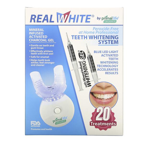 Primal Life Organics, Система отбеливания зубов с активацией светом, без перекиси водорода, 20 процедур