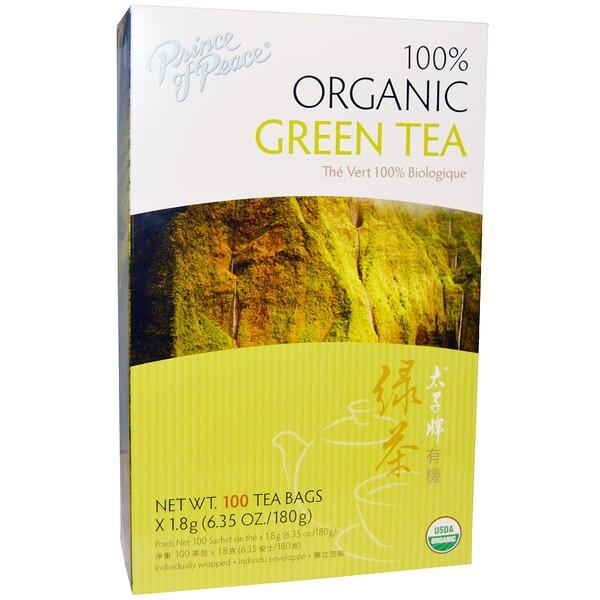 100% органический зеленый чай, 100 чайных пакетиков по 1,8 г каждый
