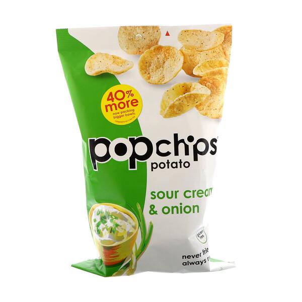 Popchips, Картофельный чипсы, сметана и лук, 5 унций (142 г)