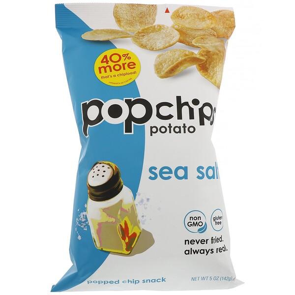 Popchips, Картофельные чипсы, Морская соль, 5 унций (142 г)