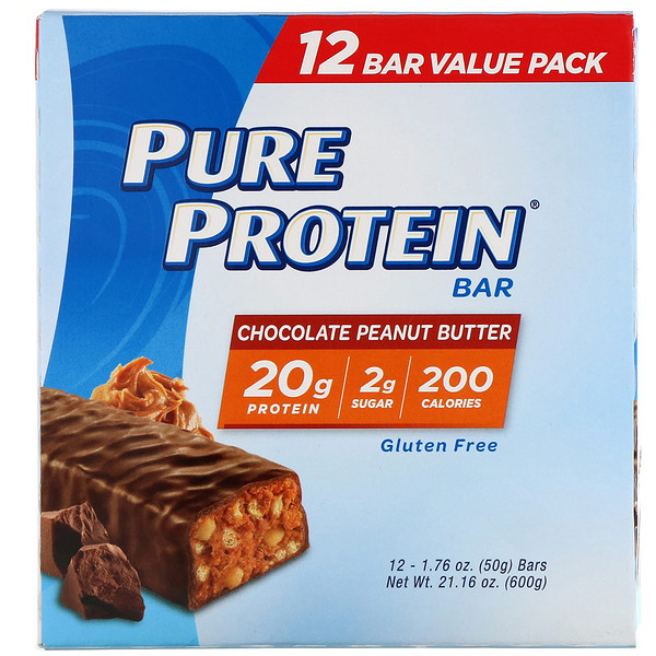 Pure Protein Bar, Chocolate Peanut Butter, 12 bars, 1.76 oz (50 g) Each
