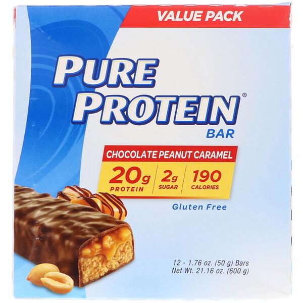 Шоколадно-арахисовый батончик с карамелью, 12батончиков, 50г (1,76унции) каждый