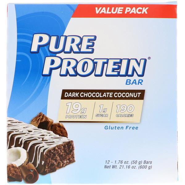 Батончик из темного шоколада с кокосом, 12батончиков, 50г (1,76унции) каждый
