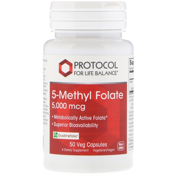 Protocol for Life Balance, 5-Methyl Folate, 5,000 mcg, 50 Veg Capsules (Discontinued Item)