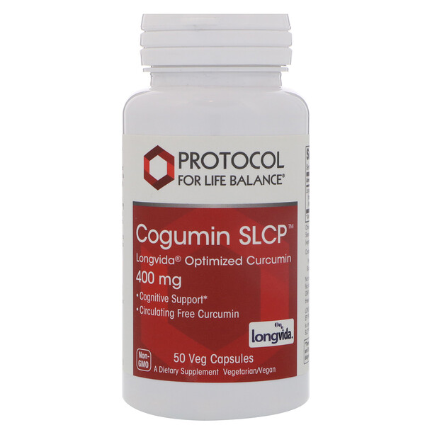 Protocol for Life Balance, Curcumin SLCP, 400 mg, 50 Veg Capsules
