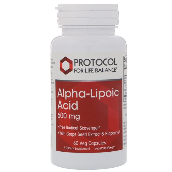 Альфа-липоевая кислота, 600 мг, 60 вегетарианских капсул