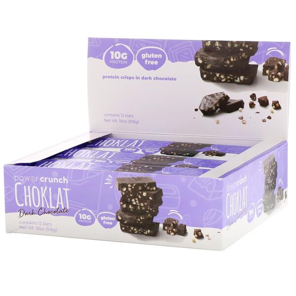 Энергетический белковый батончик Power Crunch Choklat, темный шоколад, 12 батончиков, вес каждого 43 г (1,54 унции)