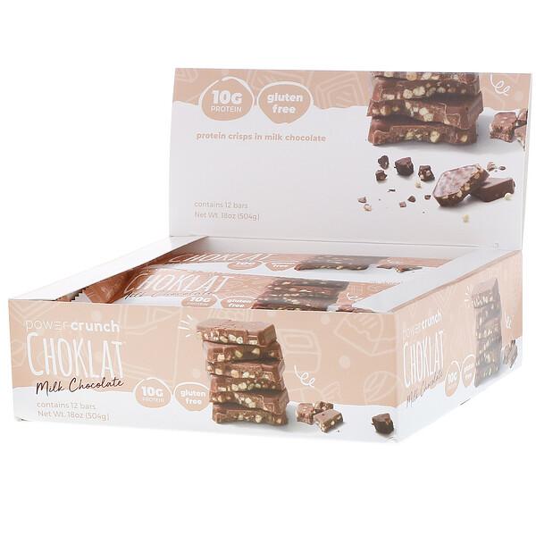 BNRG, Энергетический белковый батончик Power Crunch Choklat, молочный шоколад, 12 батончиков, вес каждого 42 г (1,5 унции)