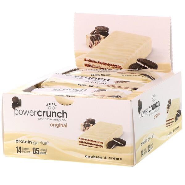 Энергетический белковый батончик Power Crunch Original, печенье с кремом, 12 батончиков, вес каждого 40 г (1,4 унции)