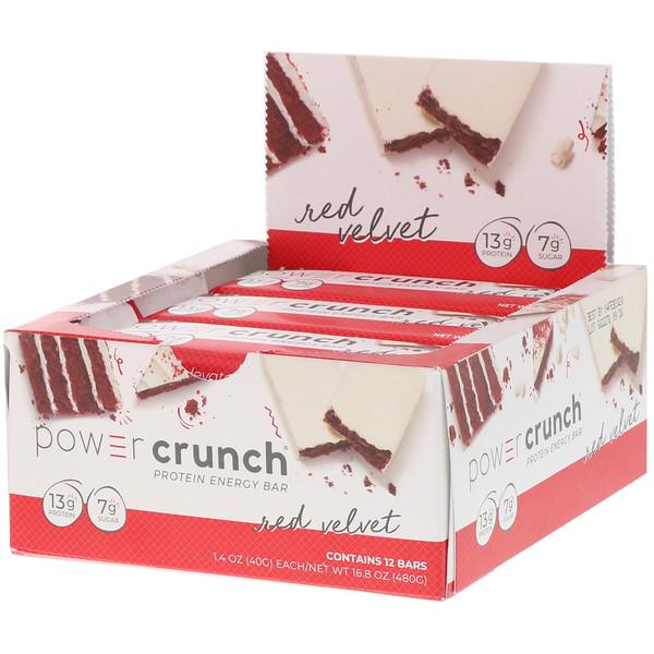Power Crunch, протеиновый энергетический батончик, со вкусом торта «Красный бархат», 12батончиков, 40г (1,4унции) каждый
