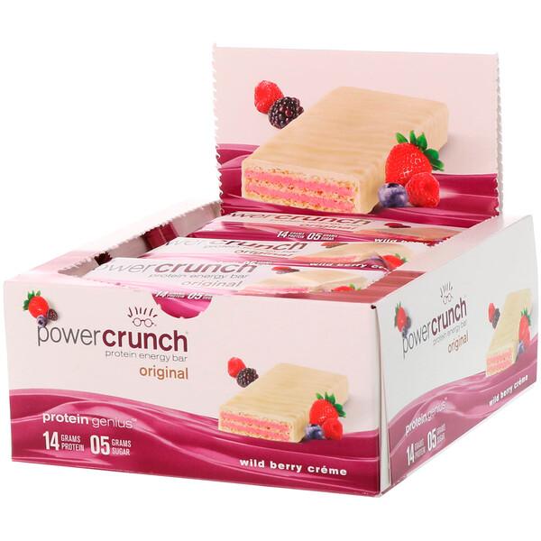Power Crunch, протеиновый энергетический батончик, крем с лесными ягодами, 12батончиков, 40г (1,4унции) каждый
