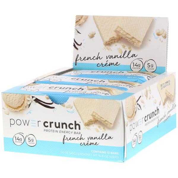 BNRG, Энергетический белковый батончик Power Crunch, французский ванильный крем, 12 батончиков, вес каждого 40 г (1,4 унции)