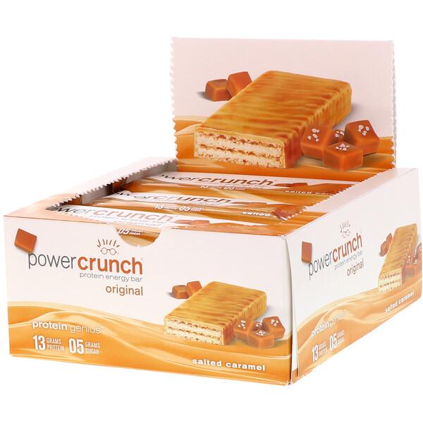 Протеиновый энергетический батончик Power Crunch, оригинальная рецептура, соленая карамель, 12батончиков, 40г каждый