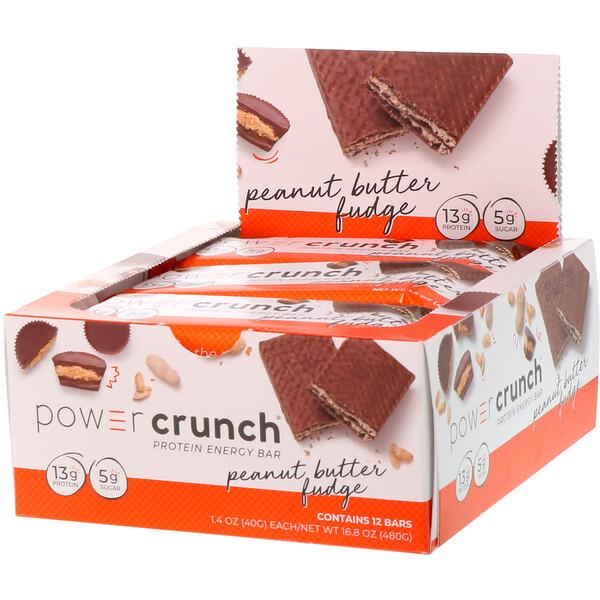 Power Crunch, протеиновый энергетический батончик со вкусом арахисового масла и ирисок, 12 шт. по 40 г