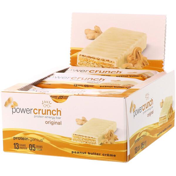 Энергетический белковый батончик Power Crunch Original, крем с арахисовым маслом, 12 батончиков, вес каждого 40 г (1,4 унции)