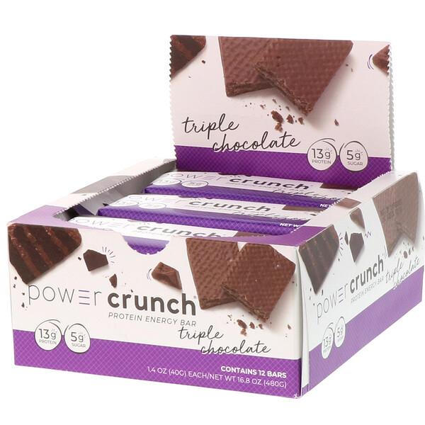 Протеиновый энергетический батончик Power Crunch, оригинальная рецептура, тройной шоколад, 12батончиков, 40г (1,4унции) каждый