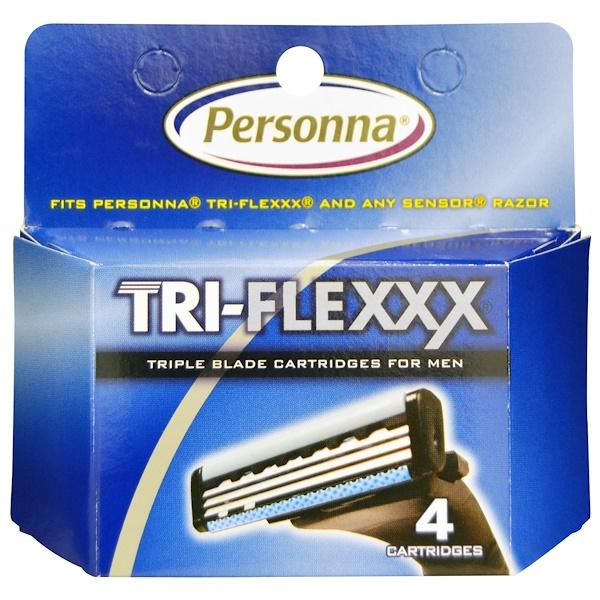 Personna Razor Blades, Tri-Flexxx, картриджи с тройным лезвием для мужчин, 4 картриджа (Discontinued Item)