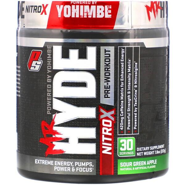 Mr.Hyde, NitroX, предтренировочный комплекс со вкусом зеленого кислого яблока, 222г (7,8унции)