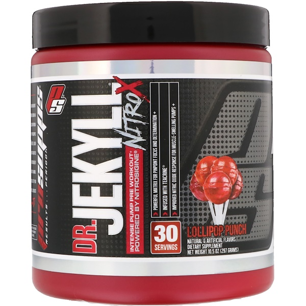 ProSupps, DR.JEKYLL, Nitro X, Intense Pump Pre Workout, Lollipop Punch, 10.5 oz (297 g) (Discontinued Item)