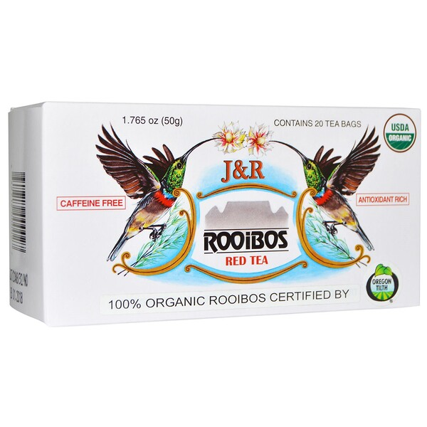 J&R, красный чай с ройбушем, без кофеина, 20 пакетиков, 1,765 унции (50 г)