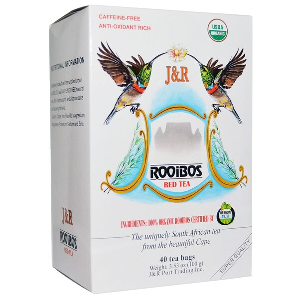 J&R Port Trading Co., Pure Rooibos Red Tea (Настоящий красный чай ройбуш), без кофеина, 40 чайных пакетиков, 100 г (3,53 унции)