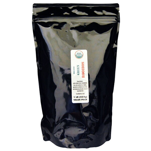 Органический зеленый ройбуш, без кофеина, 454г (1фунт)